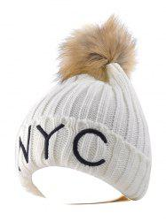 NYC Embroider Knit Pom Ball Skullies Beanie