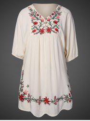 V Neck Embroidered Shift Casual Dress - APRICOT ONE SIZE