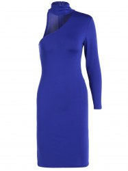 Long Sleeve One Shoulder Bodycon Dress - ROYAL BLUE S