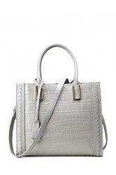 Crocodile Embossed Pendant Handbag - GRAY