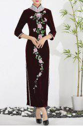 Floral Rhinestone Velvet Maxi Evening Cheongsam Dress - WINE RED 2XL
