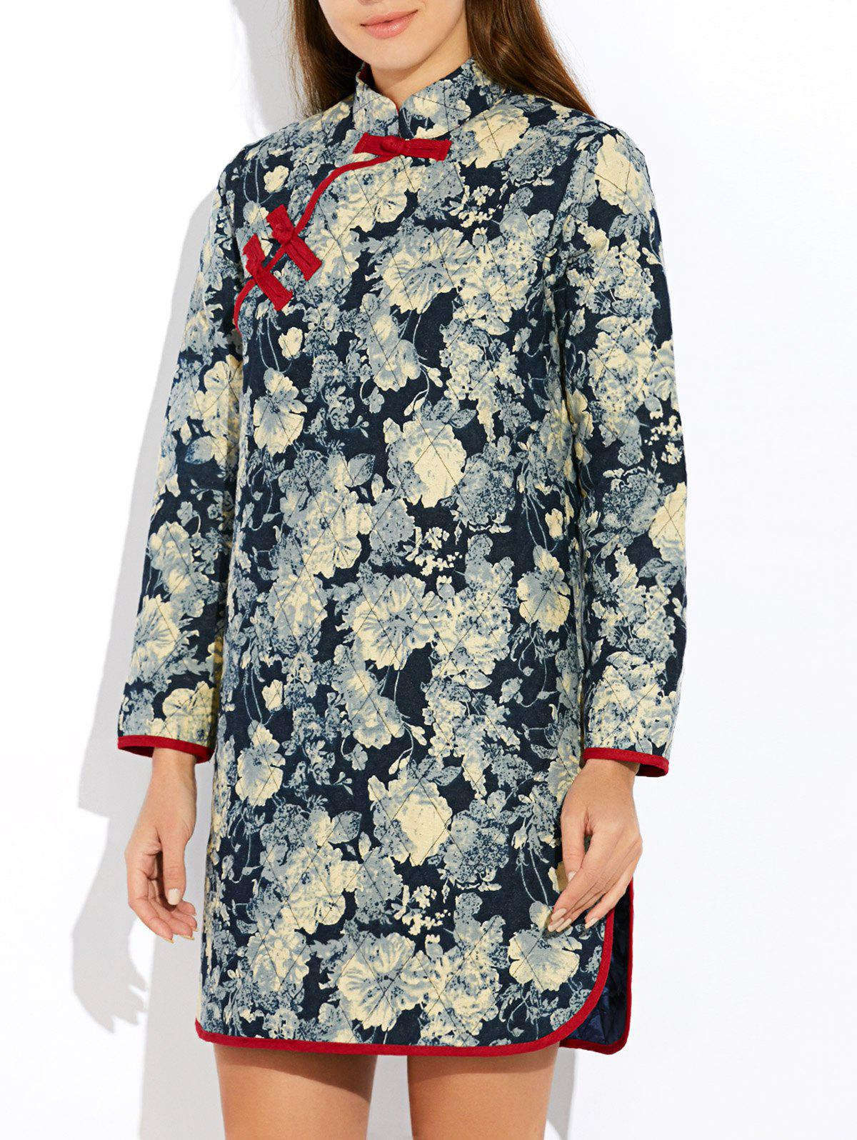 Fashion Floral Long Chinese Style Coat