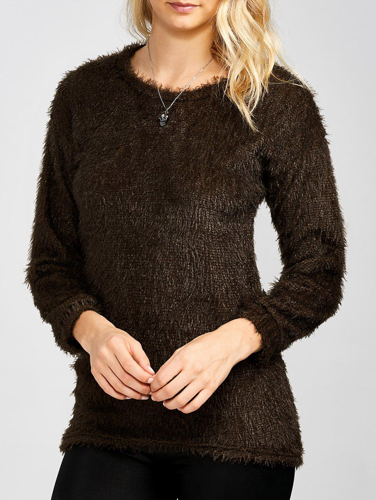 Latest Drop Shoulder Long Fuzzy Sweater