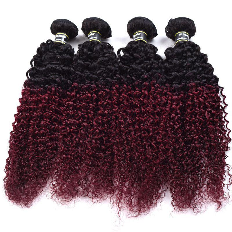 Fashion 1 Pcs 6A Virgin Kinky Curly Ombre Color Brazilian Hair Weave