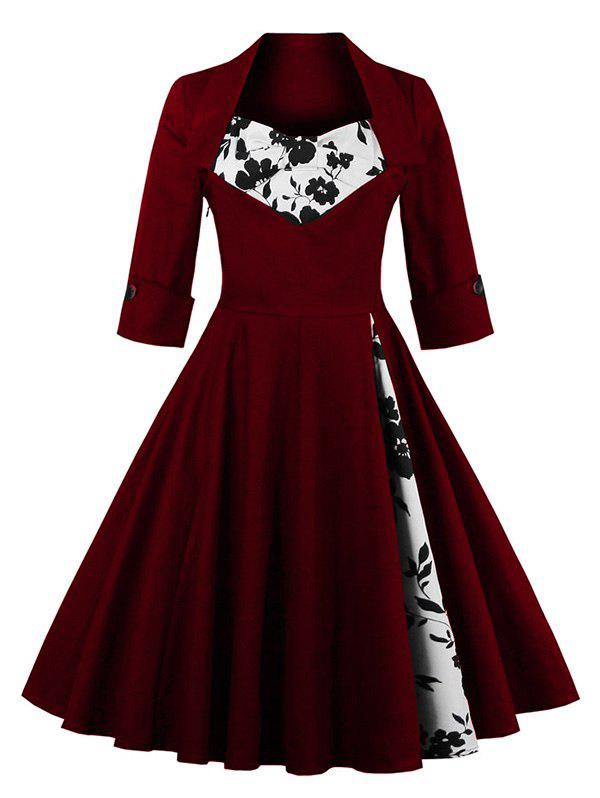 Knee Length Floral Flare Corset DressWOMEN<br><br>Size: M; Color: WINE RED; Style: Vintage; Material: Polyester; Silhouette: A-Line; Dresses Length: Knee-Length; Neckline: Sweetheart Neck; Sleeve Length: Half Sleeves; Embellishment: Flowers; Pattern Type: Patchwork; With Belt: No; Season: Fall,Spring,Summer; Weight: 0.3610kg; Package Contents: 1 x Dress;