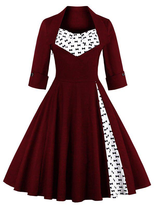 Bowknot Swing Dress Vintage Prom DressesWOMEN<br><br>Size: M; Color: WINE RED; Style: Vintage; Material: Polyester; Silhouette: A-Line; Dresses Length: Knee-Length; Neckline: Sweetheart Neck; Sleeve Length: Half Sleeves; Embellishment: Bowknot; Pattern Type: Patchwork; With Belt: No; Season: Fall,Spring,Summer; Weight: 0.3700kg; Package Contents: 1 x Dress;