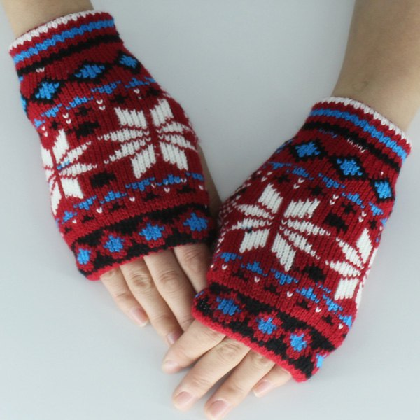 Christmas Snow Knitted Fingerless GlovesACCESSORIES<br><br>Color: RED; Group: Adult; Gender: For Women; Style: Fashion; Glove Length: Wrist; Pattern Type: Floral; Material: Polyester; Weight: 0.069kg; Package Contents: 1 x Gloves (Pair);
