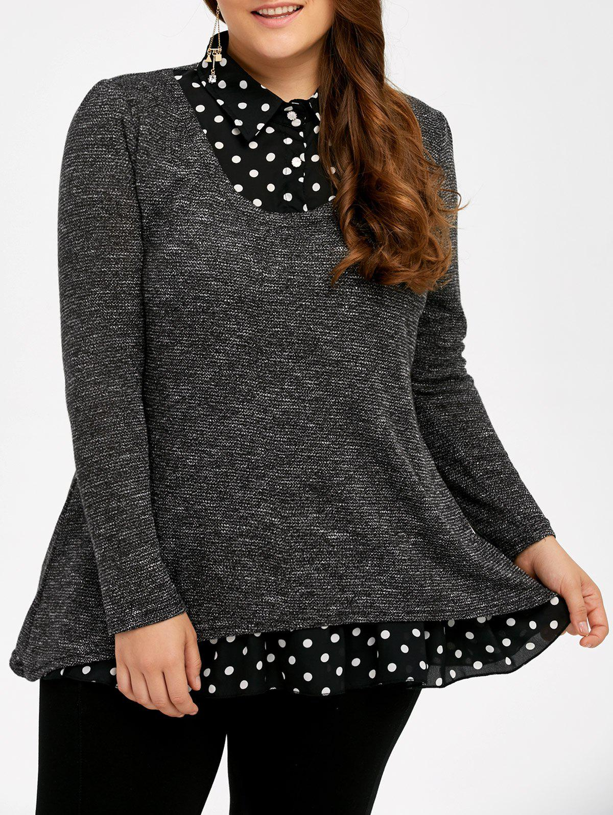 Plus Size Polka Dot Insert SweaterWOMEN<br><br>Size: 5XL; Color: GRAY; Type: Pullovers; Material: Polyester; Sleeve Length: Full; Collar: Shirt Collar; Style: Fashion; Season: Fall,Spring,Winter; Pattern Type: Polka Dot; Weight: 0.420kg; Package Contents: 1 x Sweater;