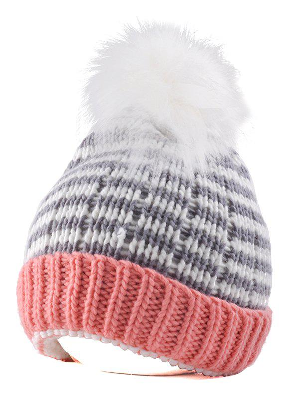 Yarn Knitted Stripe Pompom Ball Beanie HatACCESSORIES<br><br>Color: PINK; Hat Type: Skullies Beanie; Group: Adult; Gender: Unisex; Style: Fashion; Pattern Type: Others; Material: Acrylic; Circumference (CM): 54CM-58CM; Weight: 0.147kg; Package Contents: 1 x Hat;