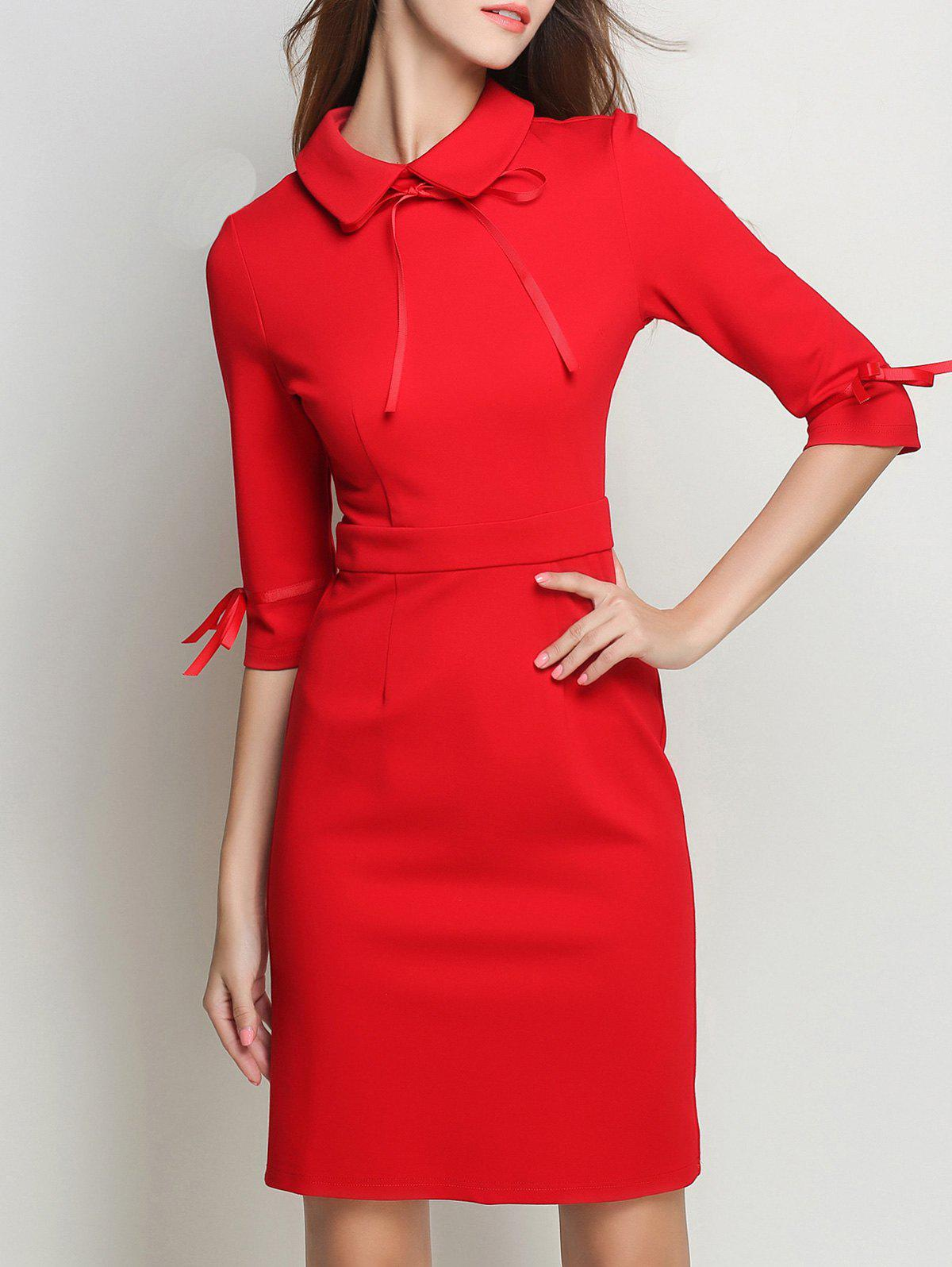 Store Bowknot Flat Collar Sheath Dress