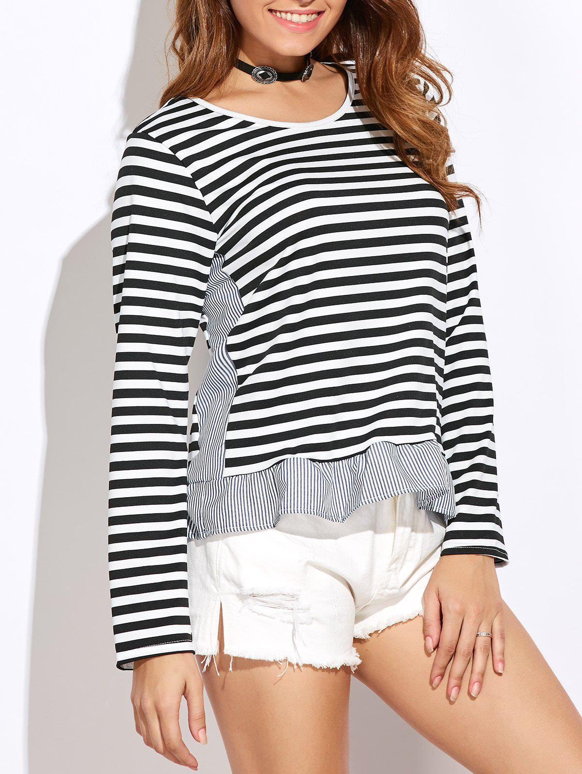 Slim Fit Stripe Peplum Tee Blanc S
