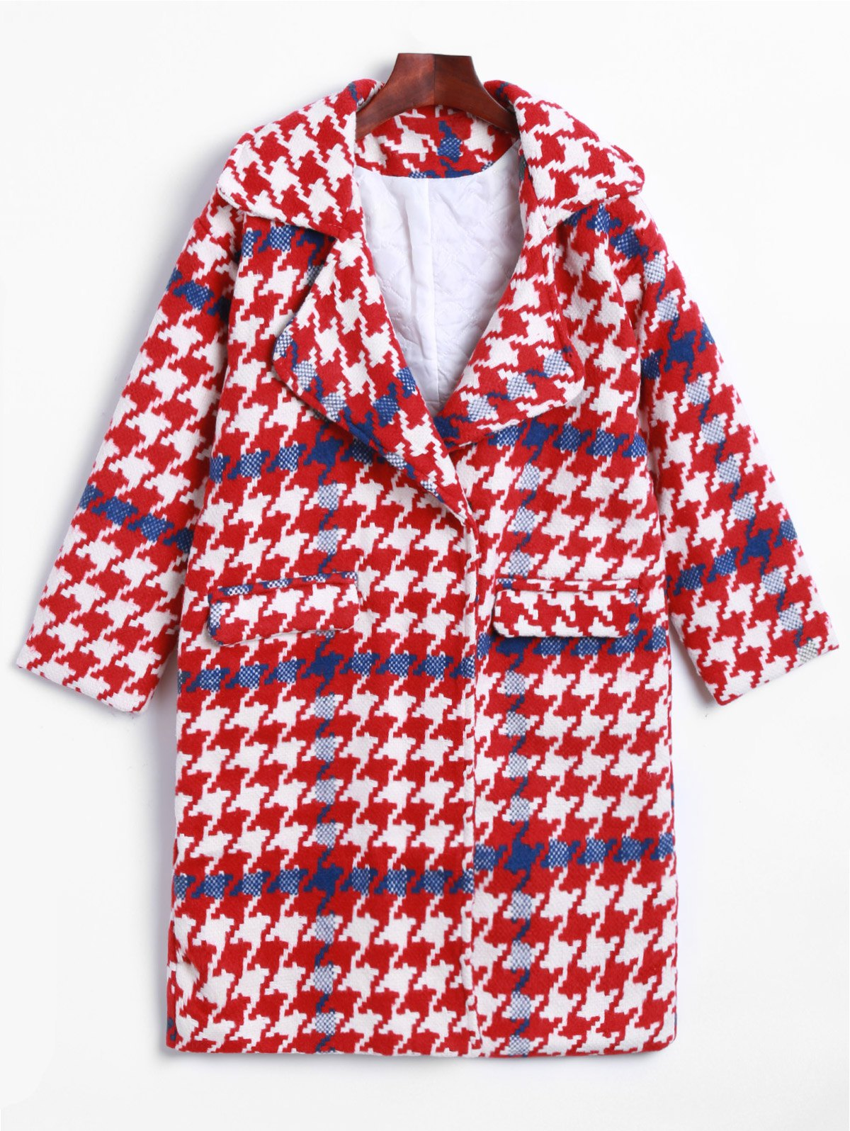 Latest Lapel Houndstooth Woolen Coat