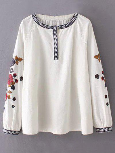 Discount Round Neck Flower Embroidered Tunic Blouse