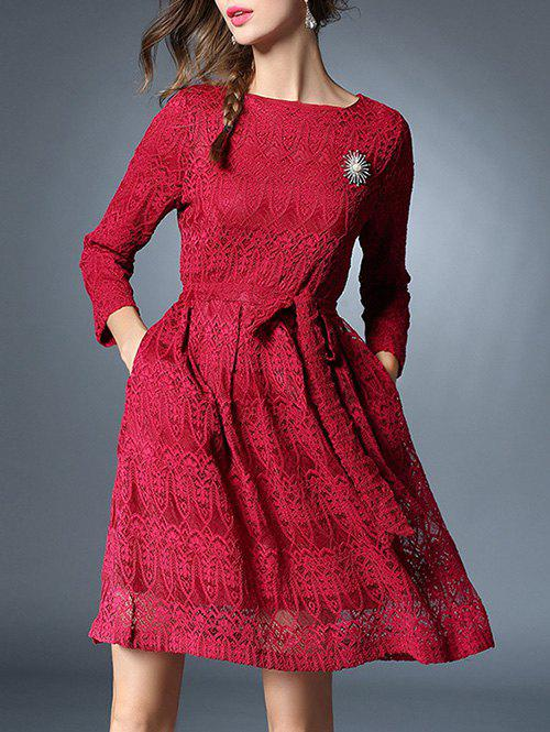 Shops Bowknot Long Sleeve Lace Dress With Brooch