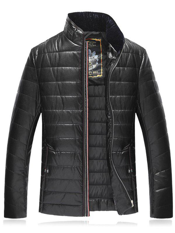 Online Stand Collar Plus Size PU Leather Zip Up Down Jacket