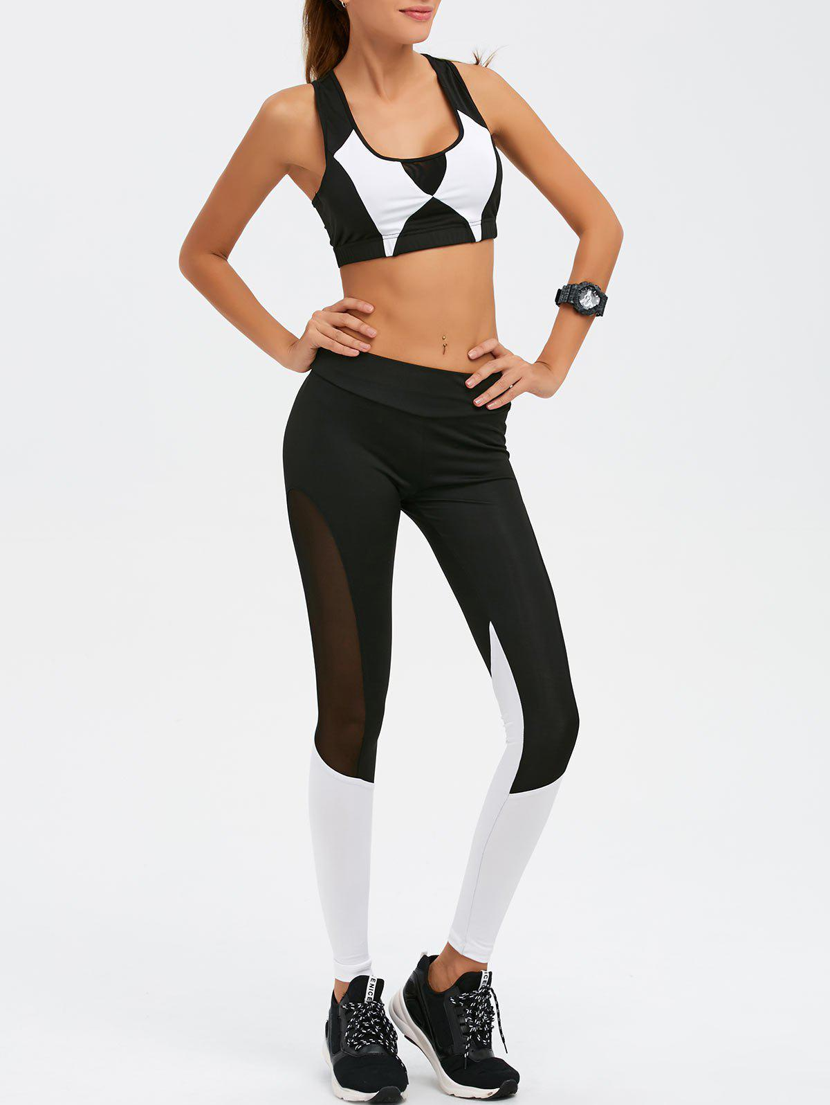 Mesh Paneled Color Block Gym Suit