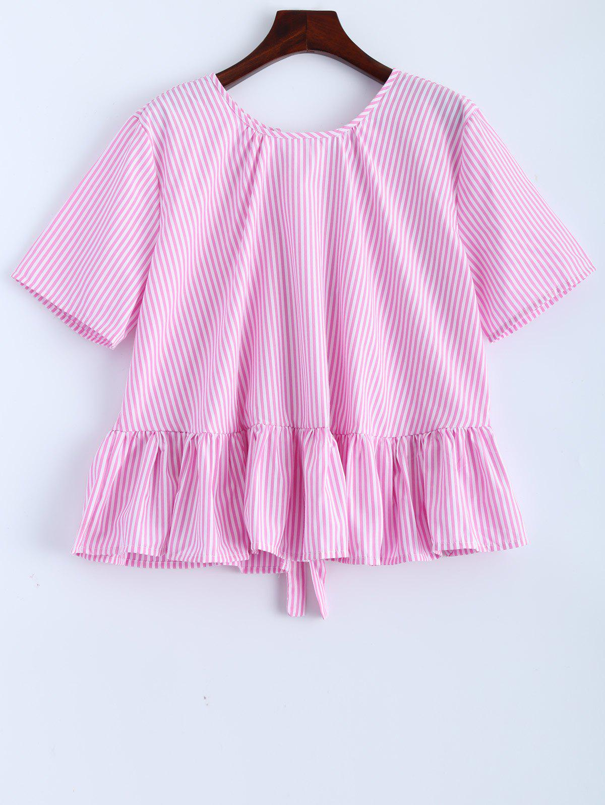 Affordable Ruffle Bowknot Stripe Blouse