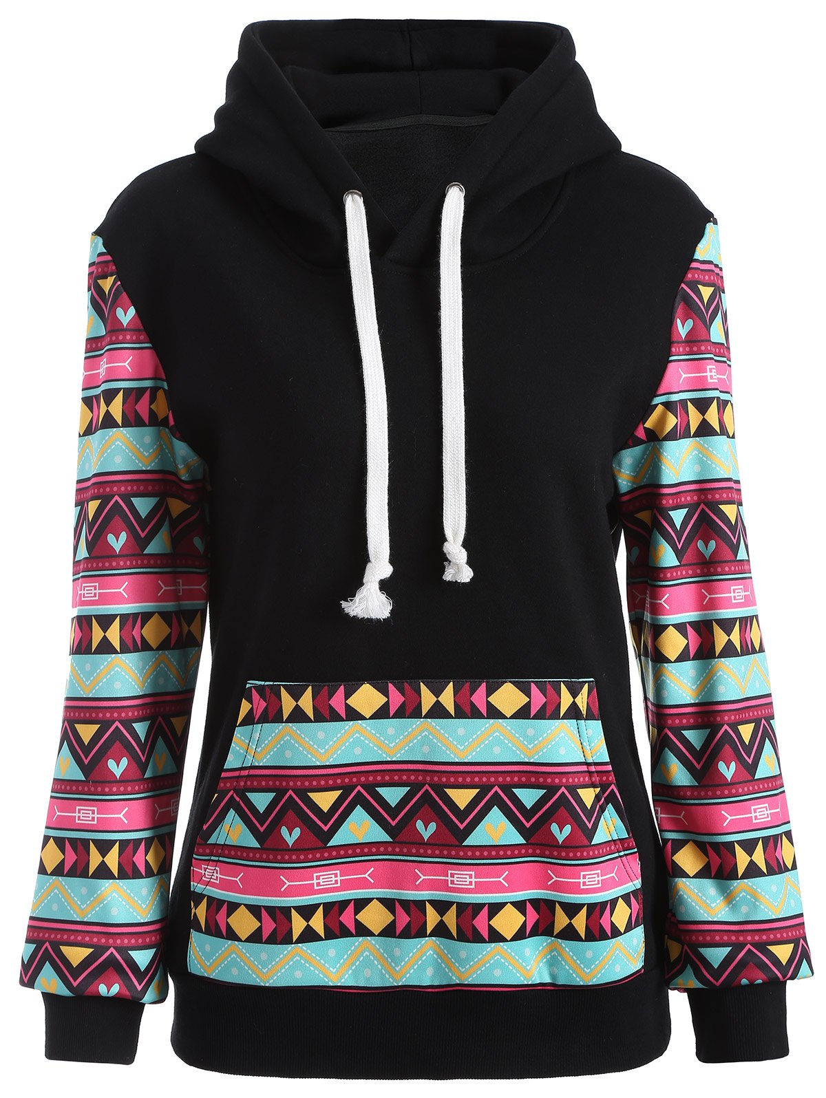 Cheap Casual Geometric Print Pullover Hoodie