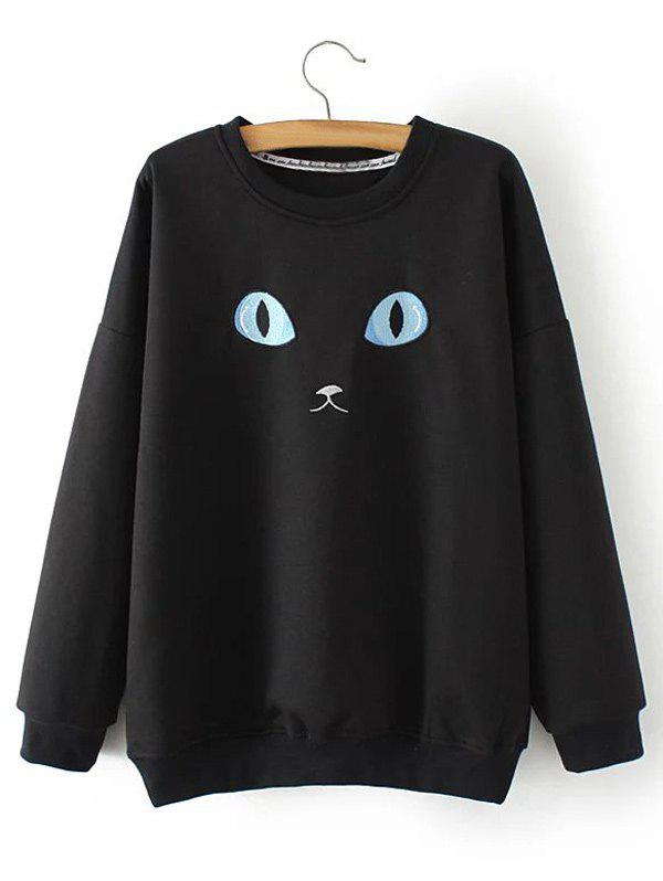Affordable Plus Size Cat Embroidery Sweatshirt