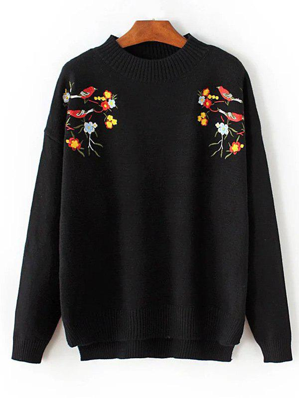 Chic Crew Neck Floral Embroidered Pullover Sweater
