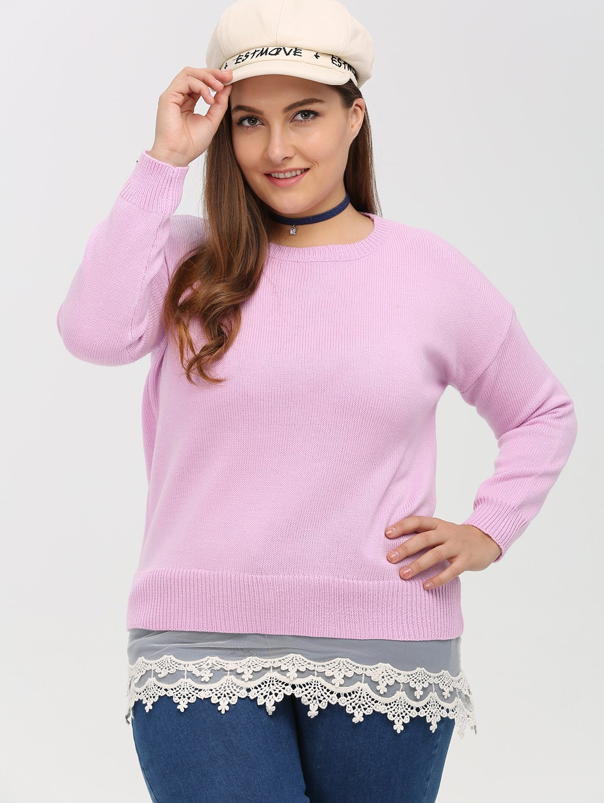 Cheap Crew Neck Lace Spliced Plus Size Sweater
