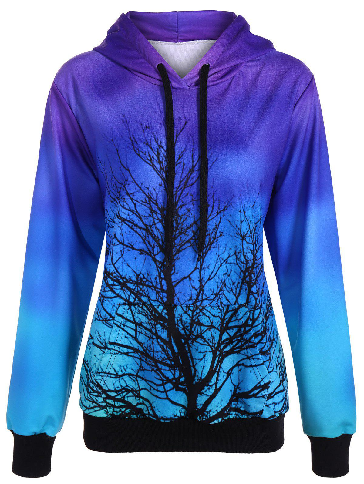 Discount Ombre Color Tree Pullover Hoodie