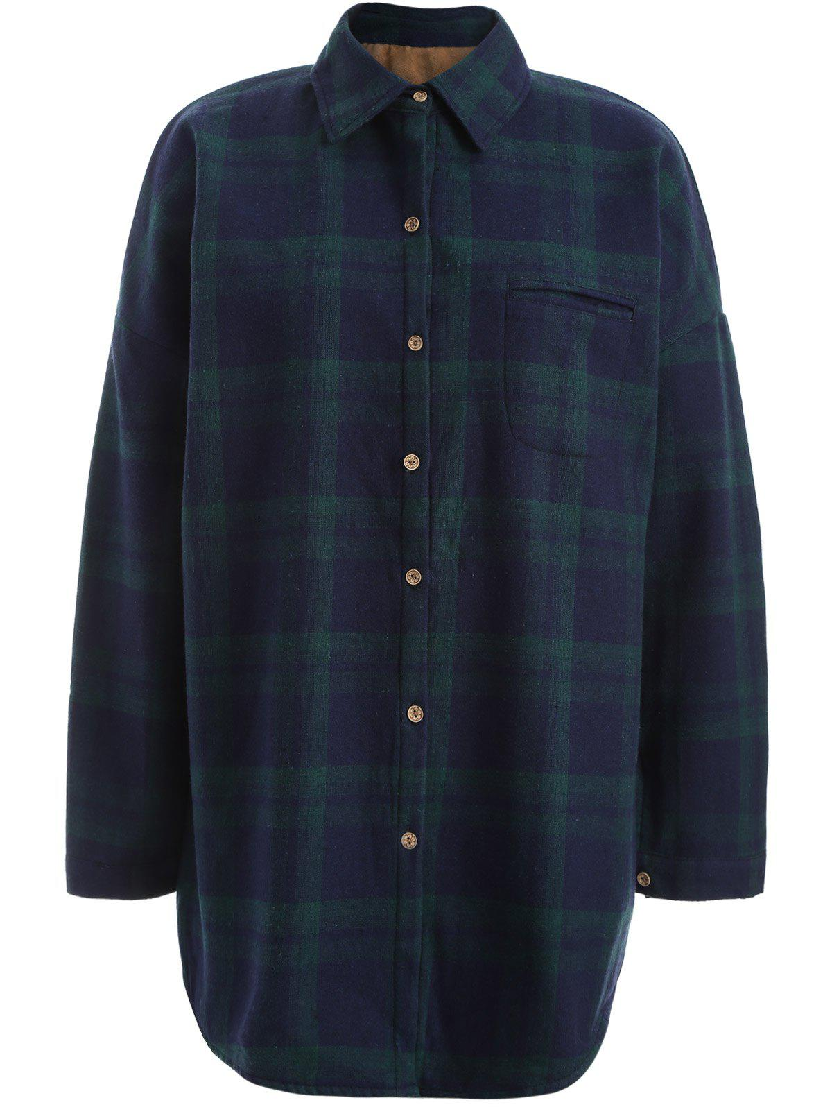 Fancy Plus Size Checked Borg Long Sleeve Flannel Lined Shirt