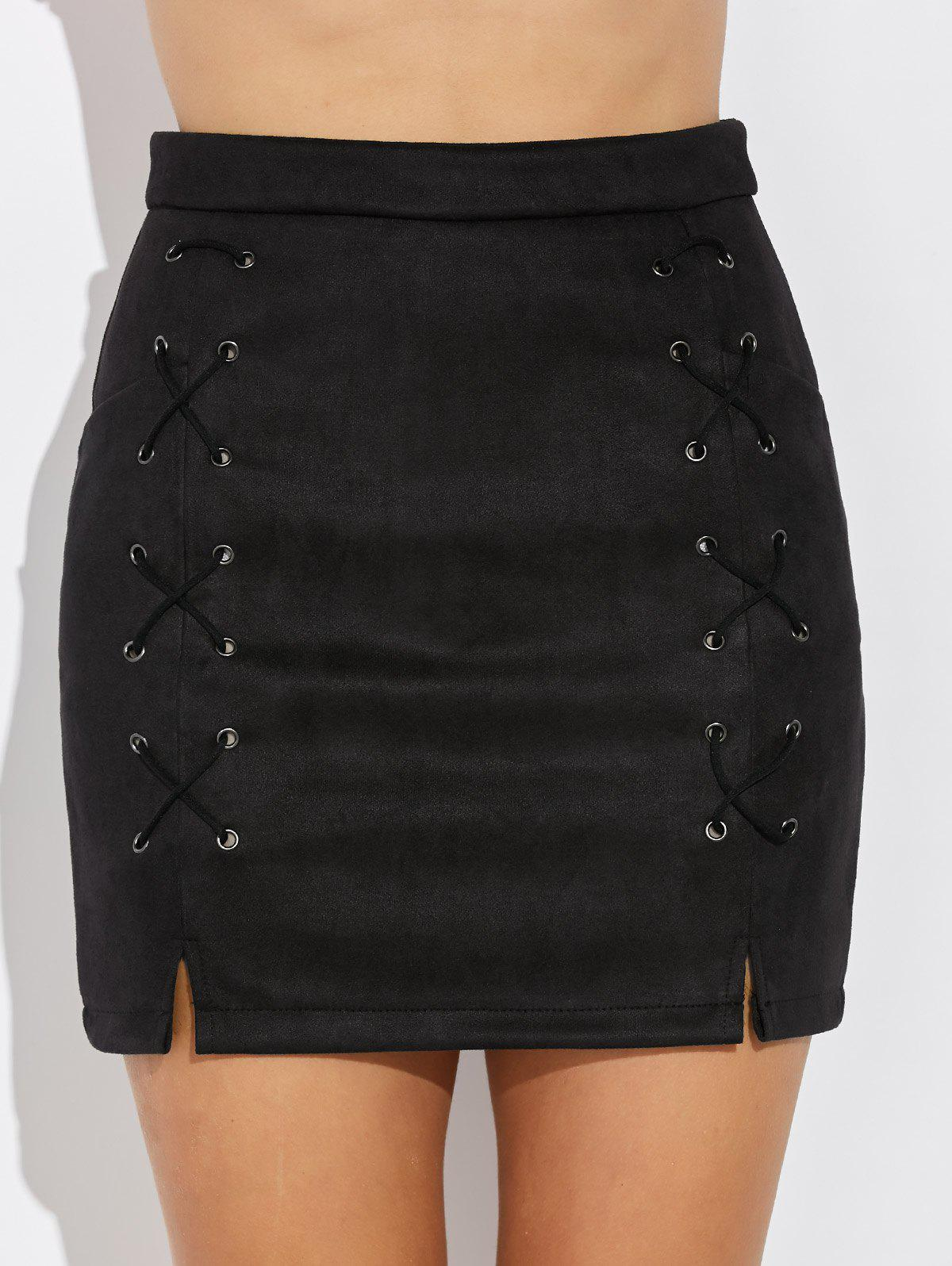 New Double Criss Cross Bandages Faux Suede Skirt