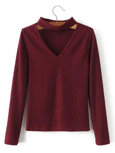 Trendy Keyhole Neck Pullover Ribbed Sweater
