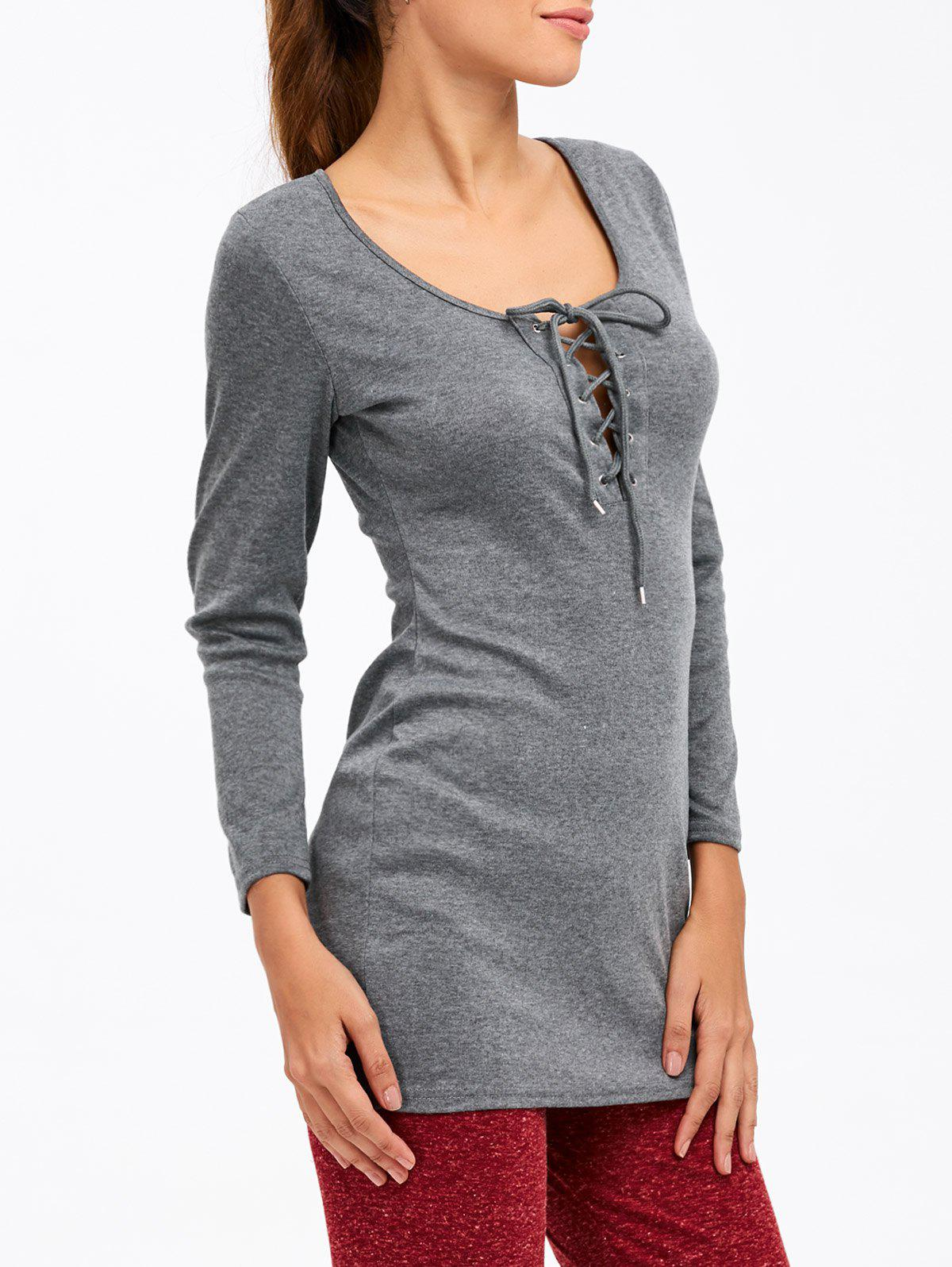 Shop Classic Lace Up Slimming Tee