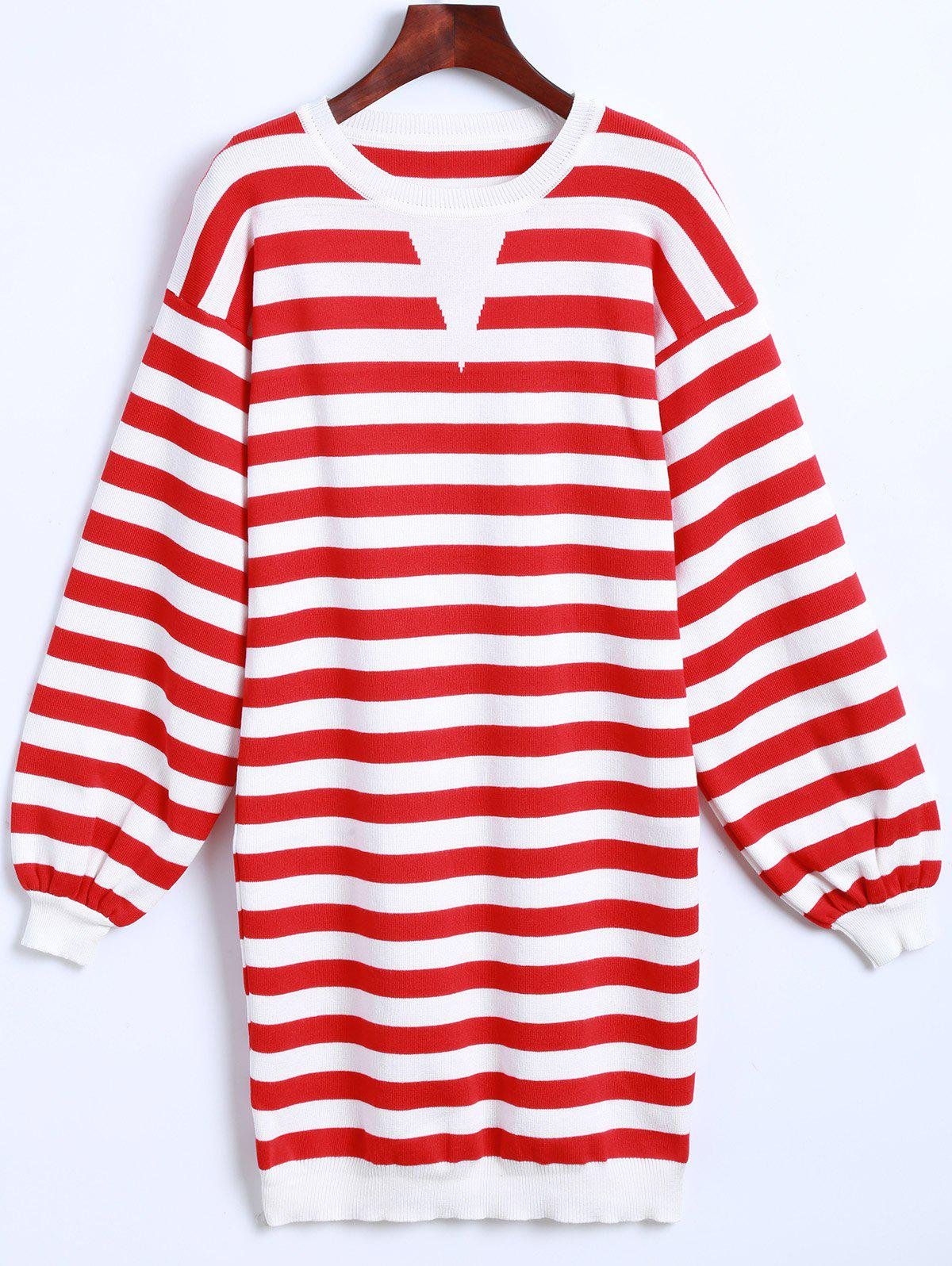 Latest Striped Long Sleeves Knitted Dress