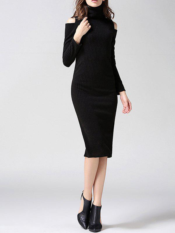 Discount Knit Cold Shoulder Turtleneck Midi Dress