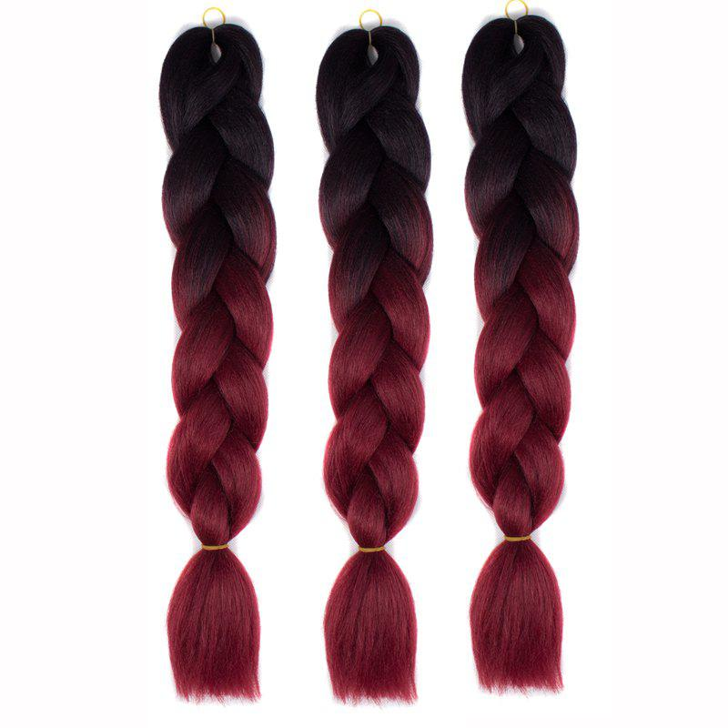 1 Pcs Multicolor Ombre High Temperature Fiber Braided Long Hair ExtensionsHAIR<br><br>Color: BLACK AND RED; Hair Extension Type: No Attachment(Bulk Hair); Style: Braid Hair; Fabric: Synthetic Hair; Length: Long; Weight: 0.150kg; Length Size(CM): 60; Length Size(Inch): 1 x Hair Extension;