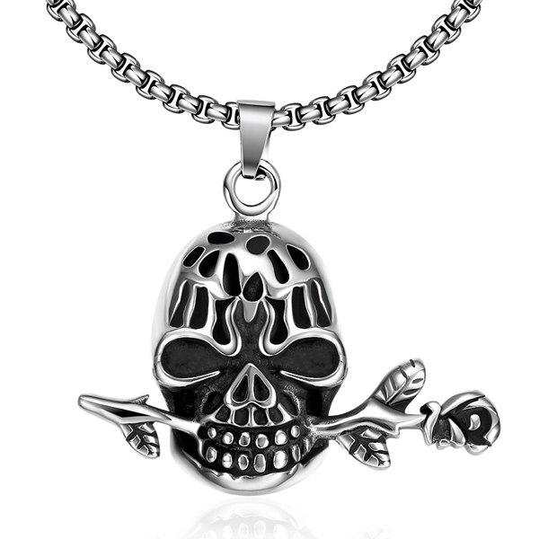 Chic Vintage Rose Devil Skull Necklace