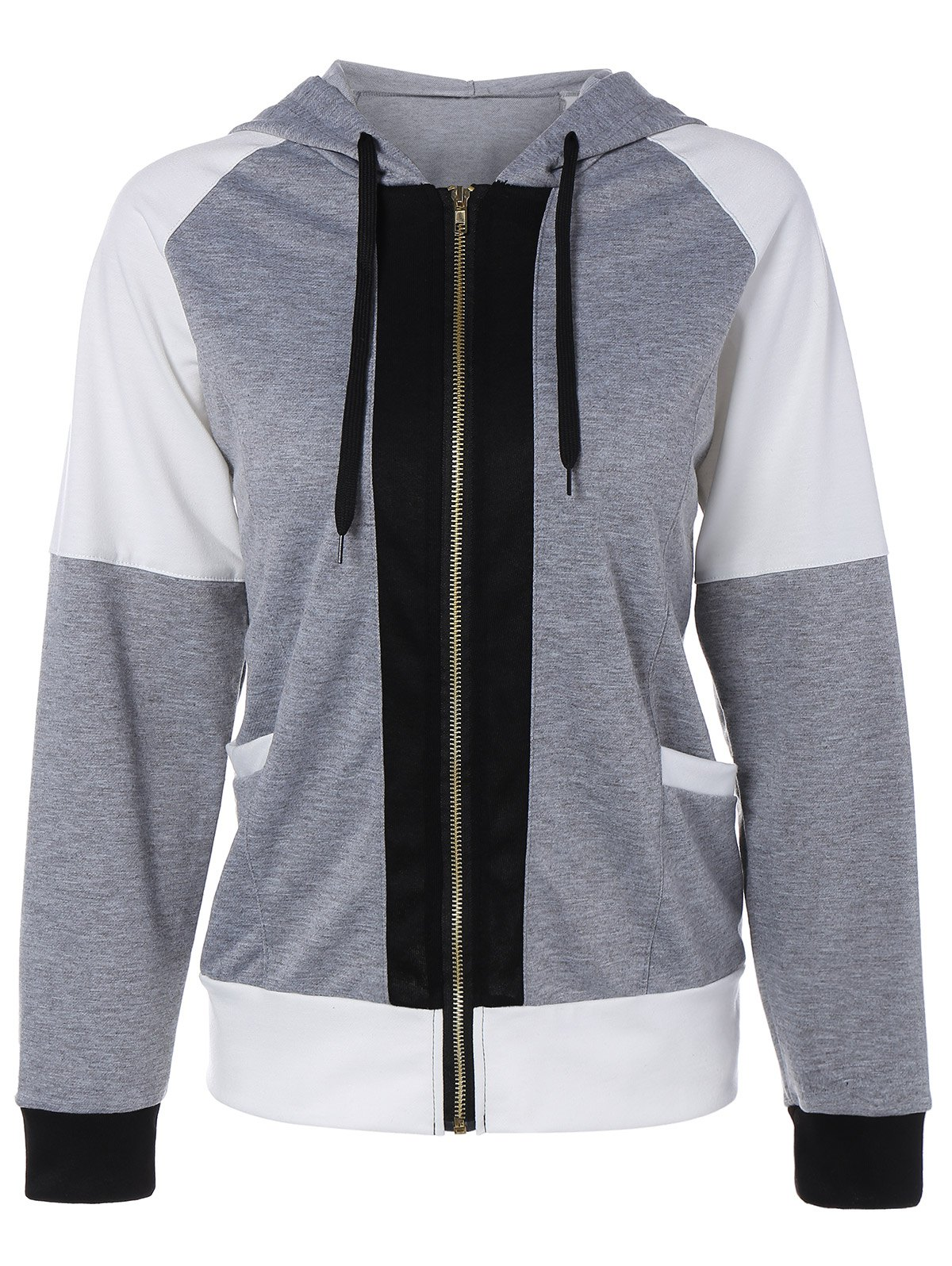 Fashion Color Block Zipper Up Hoodie With Pocket