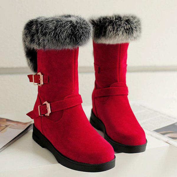 Shops Buckle Straps Furry Mid Calf Boots