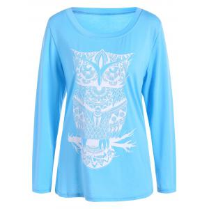 Owl Pattern Scoop Neck Tee
