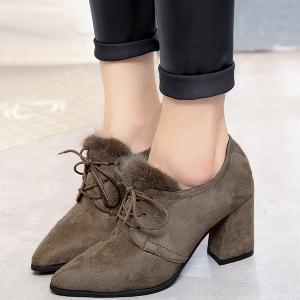 Lace Up Faux Fur Pumps - CAMEL 39