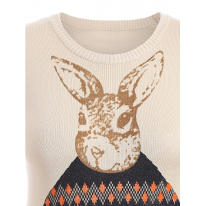 Rabbit Pattern Cute Plus Size Sweater - APRICOT 5XL