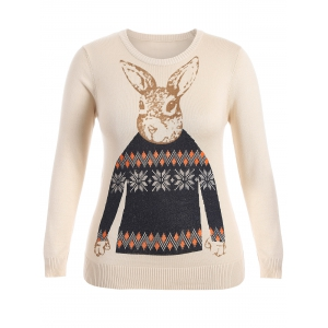 Rabbit Pattern Cute Plus Size Sweater - Apricot - Xl