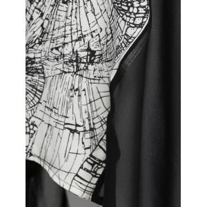 Plus Size Abstract Print High Low Blouse -