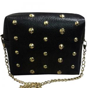 Zipper Rivets PU Leather Crossbody Bag -