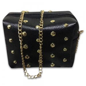 Zipper Rivets PU Leather Crossbody Bag - BLACK