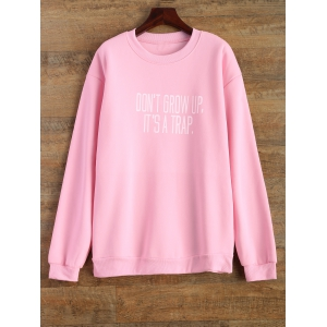 Jewel Neck Letter Pattern Sweatshirt - Pink - S