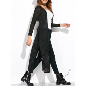 Lon Sleeve Open Knit Side Slit Duster Cardigan