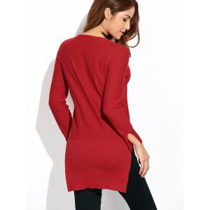 High-Low Loose Slit Long Sweater - WINE RED XL