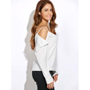 V Neck Long Sleeve Cold Shoulder Top - WHITE 2XL