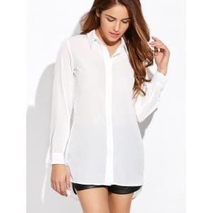 Long Sleeve Belted High Low Cut Out Shirt - WHITE 2XL