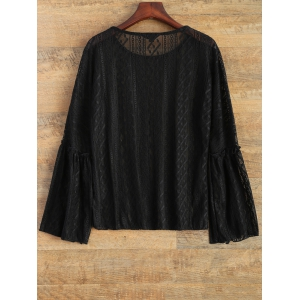 Bell Sleeve See-Through Lace Top - BLACK M