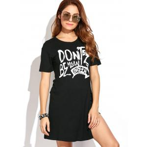 Graphic High Slit Long T-Shirt - BLACK 2XL